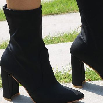 New Women Black Point Toe Chunky Casual Ankle Boots