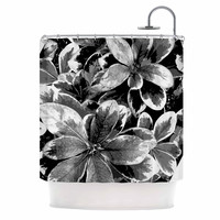 """Julia Grifol """"Leaves In Gray"""" Floral Black Shower Curtain"""