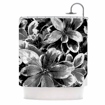 "Julia Grifol ""Leaves In Gray"" Floral Black Shower Curtain"