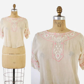 Vintage 20s PEASANT BLOUSE / 1920s Ethnic Embroidered Sheer Ivory Cotton Top