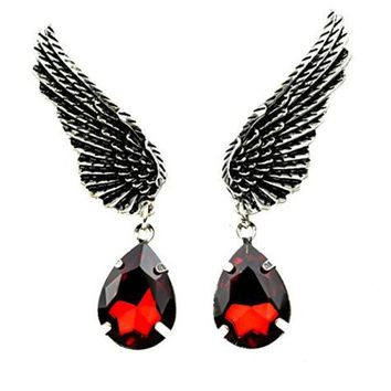 ac spbest Wings w/ Red Stone Teardrop Earrings Gothic Design Cosplay