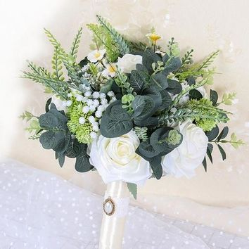 Boho Beach Wedding Flowers Bridal Bouquets Ivory Rose Bride Bridesmaids Bouquet