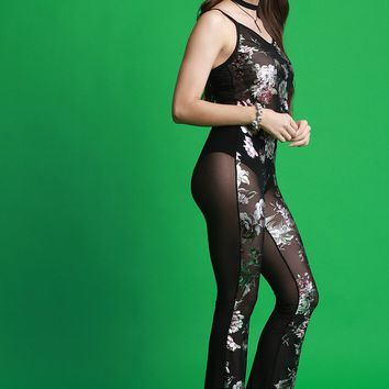 Floral Accent Mesh Cami Top With High Rise Flared Pants Set