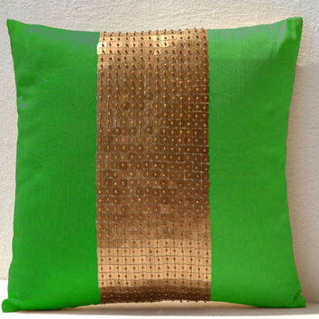 Throw Pillows - Neon green gold color block in silk sequin bead detail cushion - sequin bead pillow - 16X16 Neon green pillow - gift pillow