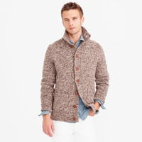 Donegal wool mockneck cardigan sweater