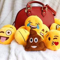 Soft Emoji Smiley Emoticon Yellow Round Cushion Stuffed Plush Toys Doll Key Chains Keyring = 1946129092