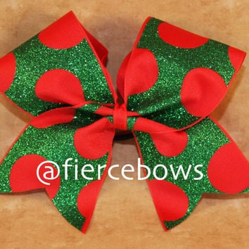 Christmas Polka Dot Cheer Bow