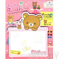 Aloha Rilakkuma Teddy Bear Shaped Hawaii Themed Adhesive Post-it Memo Pads | Cute Affordable Stationery
