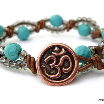 Om Wrap Bracelet Entwined Leather Wrap Om Bracelet