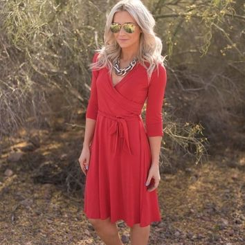 Jillian Wrap Dress - Red