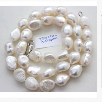 classic 8-10mm south sea natural baroque white pearl necklace 18inch