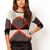 River Island Colour Blocked Jumper at asos.com