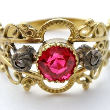 Victorian 18K Gold Ruby Ring with Diamonds Size 6