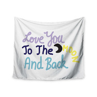 "Vasare Nar ""Love You To The Moon And Back"" Pastel Vector Wall Tapestry"