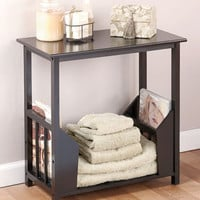 Wooden End Table with Double Magazine Rack