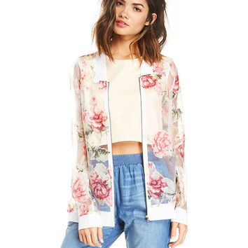 Floral Mesh Long Sleeve Cover-up