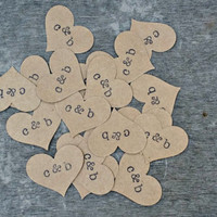 Kraft Heart Confetti, Rustic Wedding Decor, Baby Shower Decor, Personalized Name Confetti, 100 Pieces