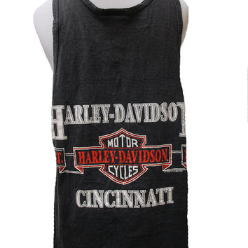 Vintage Harley Davidson Tank Top Black Motorcycle Cincinnati Size Medium