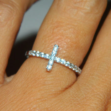 Sideways Cross Ring, Purity Ring, Diamond Cross, Middle Finger Ring