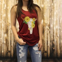Flower crown bull skull tank