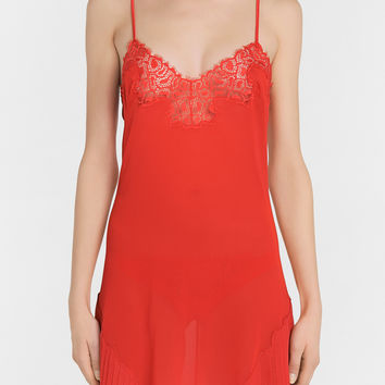 Scarlet silk chiffon slip with Leavers lace detail and pleats