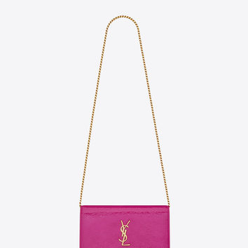 Saint Laurent MONOGRAM SAINT LAURENT Chain Wallet In Electric Pink Textured Patent Leather | ysl.com
