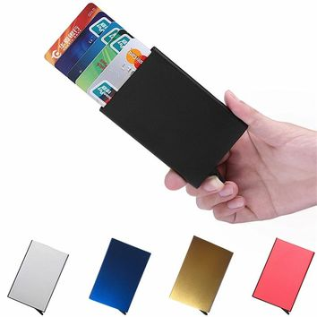 Credit Card Holder Solid Color Metal Bank Credit Card Package Business Case Card Box Porte Carte Bancaire