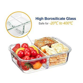Glass Food Storage Meal Prep Containers 2 grid with Airtight Locking Lids BPA Free Divided Glass Bento Lunch Boxes Crisper