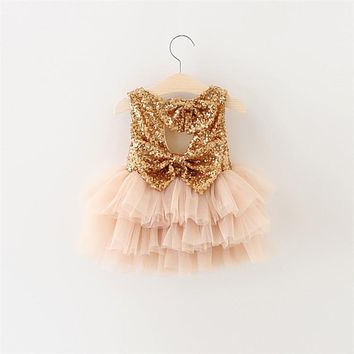 Toddler Girl Baptism Dress Christmas Costume Gold Sequins Baby Girl 1 Year Birthday Dress Kids Party Wear Tutu Dresses For Girls
