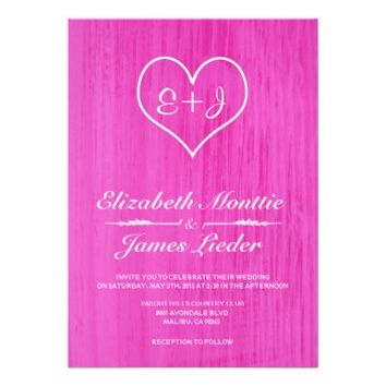 Hot Pink Country Wedding Invitations