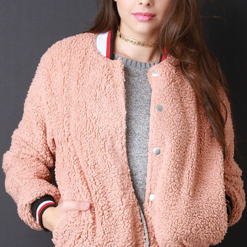 Faux Shearling Button Up Bomber Jacket