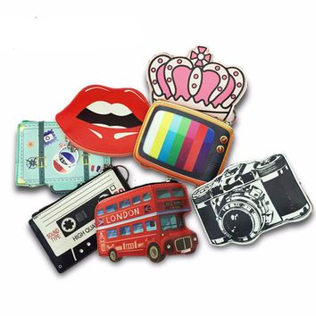 Funky Retro Coin, Card Case Key Chain