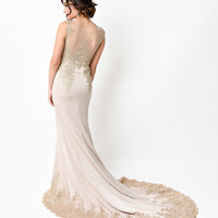 1930s Style Dark Ivory & Gold Filigree Bias Cut Satin Gown