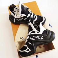 LV Louis Vuitton couple models old shoes sports casual running shoes F/A