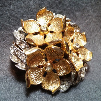 Unusual Lisner Floral Brooch, Silver and Goldtone with Rhinestones - Bold Design!