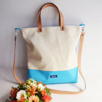 Large fold over canvas tote bag shopping from Imola by noemiimola