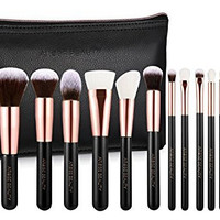 Professional Luxury Rose Gold 12pc High Quality Soft Makeup Brush Set - Vintage Rose