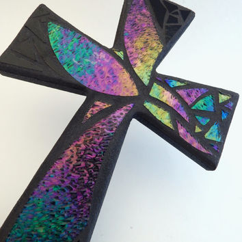 "Mosaic Wall Cross, Abstract Floral Design, ""Breeze"", Iridescent + Textured Stained Glass, Handmade Mosaic 12"" x  8"""