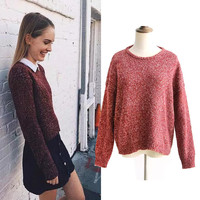 Winter Round-neck Knit Pullover Sweater Tops Bottoming Shirt [8832437190]