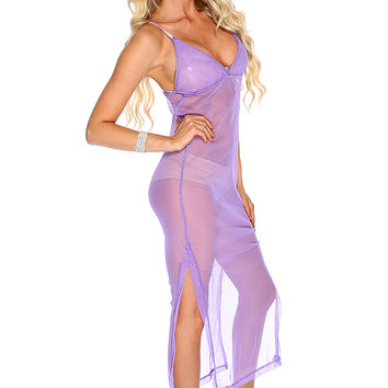 Purple Mesh Double Slit Sexy 2Pc. Intimates Set