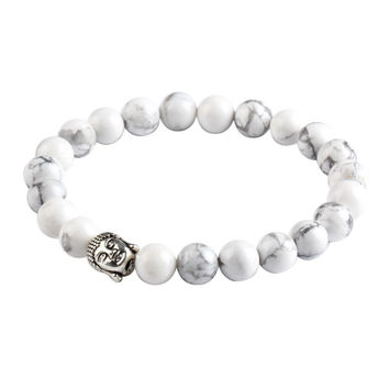 Buddha Natural Stone Beads Bracelet (White)