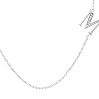 Sterling Silver Side-Set Initial ' M ' Pendant