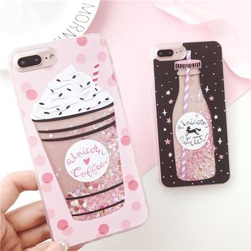 Drink Bottle Ice Cream Dynamic Liquid Quicksand Case for iPhone 5 5S 6 6S 8 Plus X Soft TPU Back Cover for iPhone 7 Phone Cases