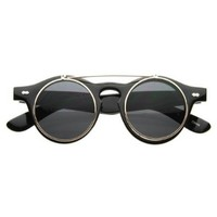 zeroUV - Small Retro Steampunk Circle Flip Up Glasses / Sunglasses
