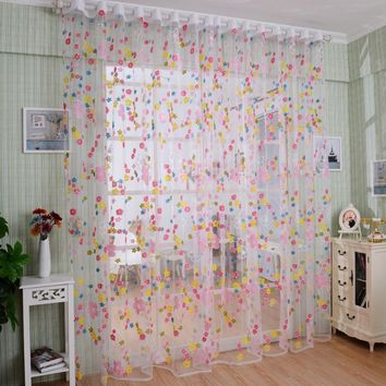 Super Deal Best seller Window Room Curtain Print Floral Printed Tulle Voile Door Window Curtain home decor Free Shipping