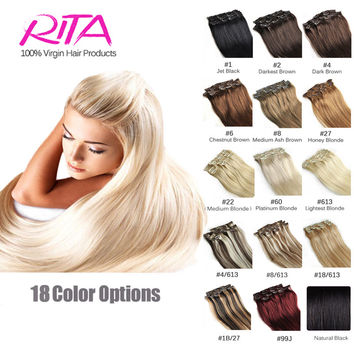 16 Color Available Brazilian Hair Clip In Human Hair Extensions 7pcs Full Head Set Rita Hair Clips Aplique Tic Tac Cabelo Humano