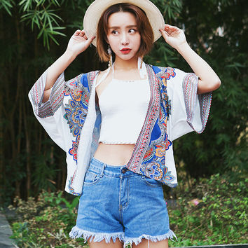 Women Kimono Open Cardigan Batwing Sleeve Floral Embroidery Bohemian Beach Holiday Summer Casual Chiffon Shrug Shawl Coat