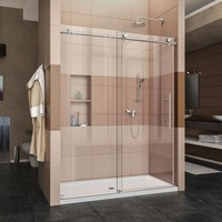 DreamLine Enigma-X 60 in. x 76 in. Frameless Sliding Shower Door in Polished Stainless Steel-SHDR-61607610-08 - The Home Depot