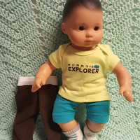 "Baby Doll Clothes to fit 15 inch baby doll BOY ""Mommy's Explorer"" 15 inch playset top socks pants shorts hippo P1"