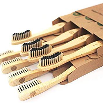 Bamboo Toothbrush Charcoal Infused Bristles - BPA Free Soft Bristle, Organic Vegan tooth brush, Biodegradable Reusable Bamboo Toothbrushes   Eco-Friendly Natural Teeth Whitening  Adults set of 8